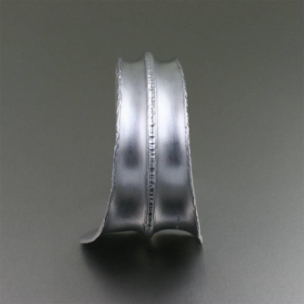 Brushed Anticlastic Fold Formed Aluminum Cuff - johnsbrana - 4