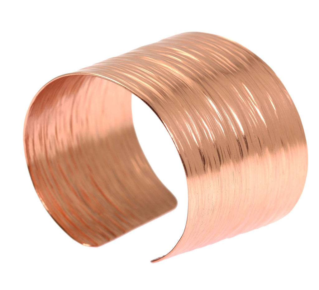 Chased Copper Bark Cuff Bracelet - johnsbrana - 2