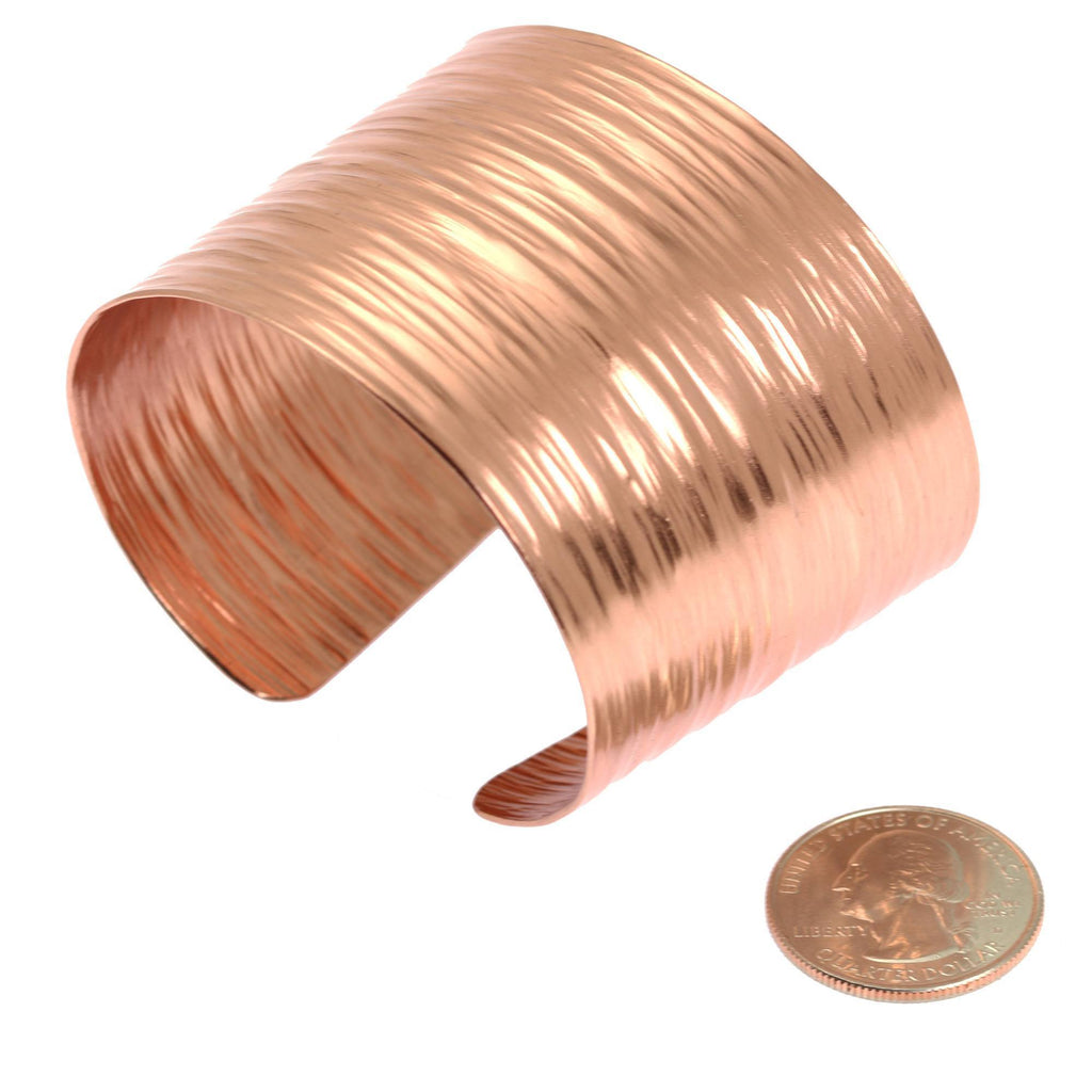 Chased Copper Bark Cuff Bracelet - johnsbrana - 5