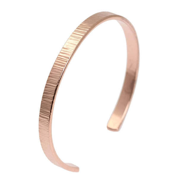 Chased Copper Cuff Bracelet - Thin - johnsbrana - 1