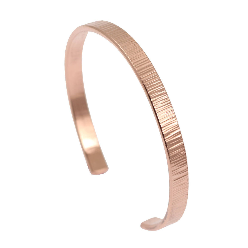 Chased Copper Cuff Bracelet - Thin - johnsbrana - 2