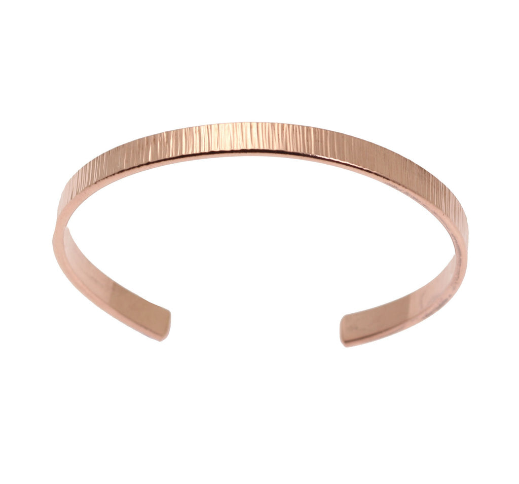 Chased Copper Cuff Bracelet - Thin - johnsbrana - 4