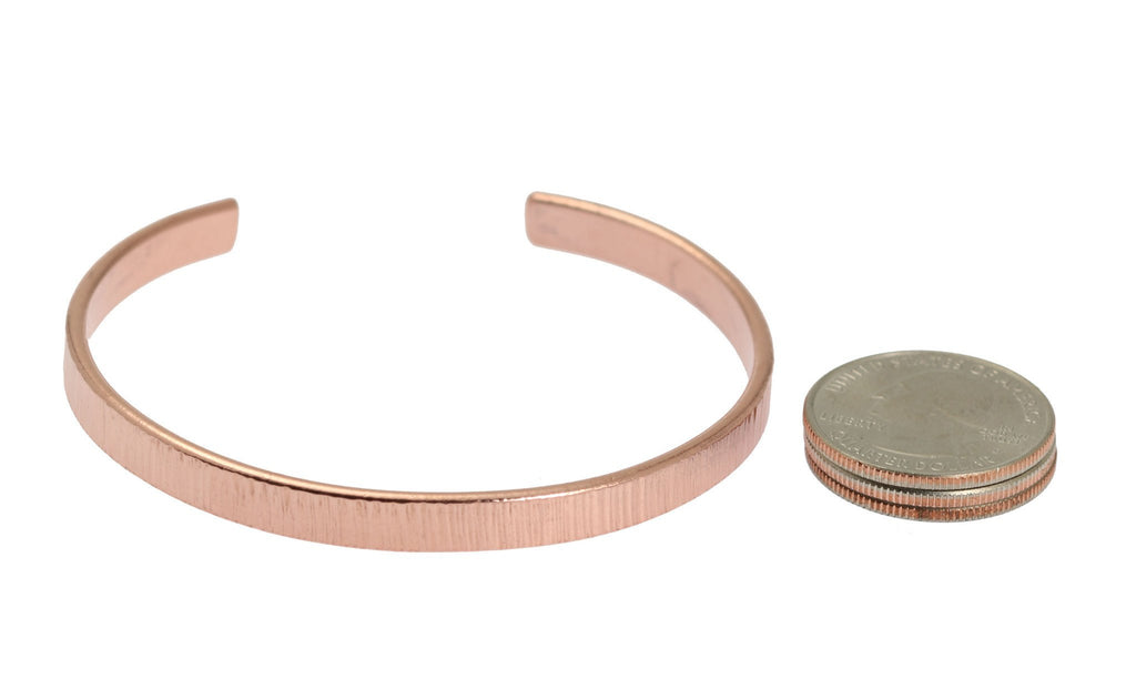 Chased Copper Cuff Bracelet - Thin - johnsbrana - 5