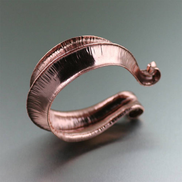 Chased Fold Formed Copper Cuff - johnsbrana - 1