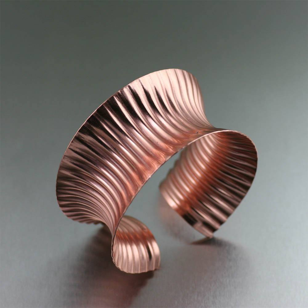 Corrugated Anticlastic Copper Cuff Bracelet - johnsbrana - 1