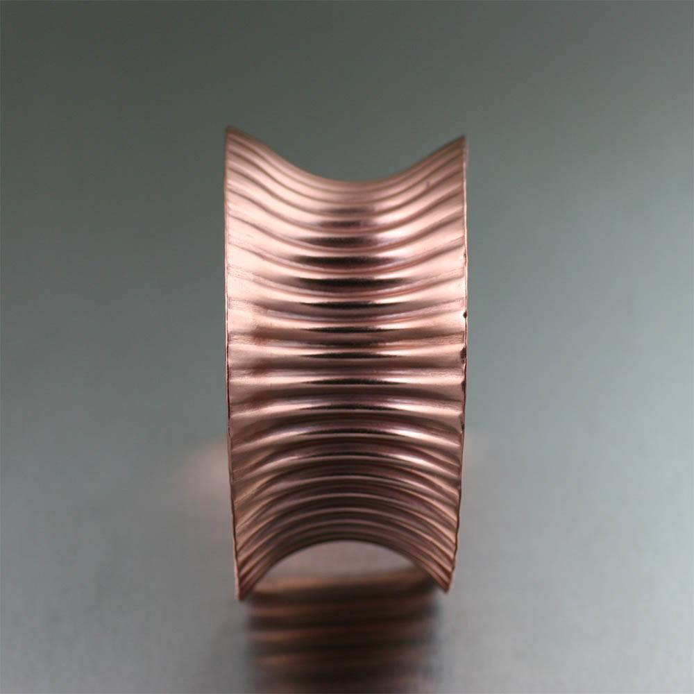 Cuffs - Corrugated Anticlastic Copper Cuff Bracelet