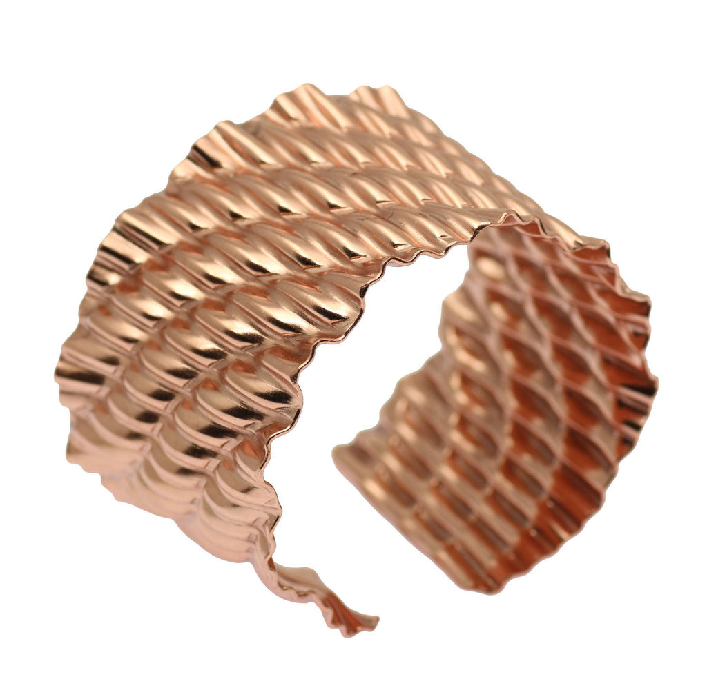 Corrugated Wave Copper Cuff Bracelet - johnsbrana - 1