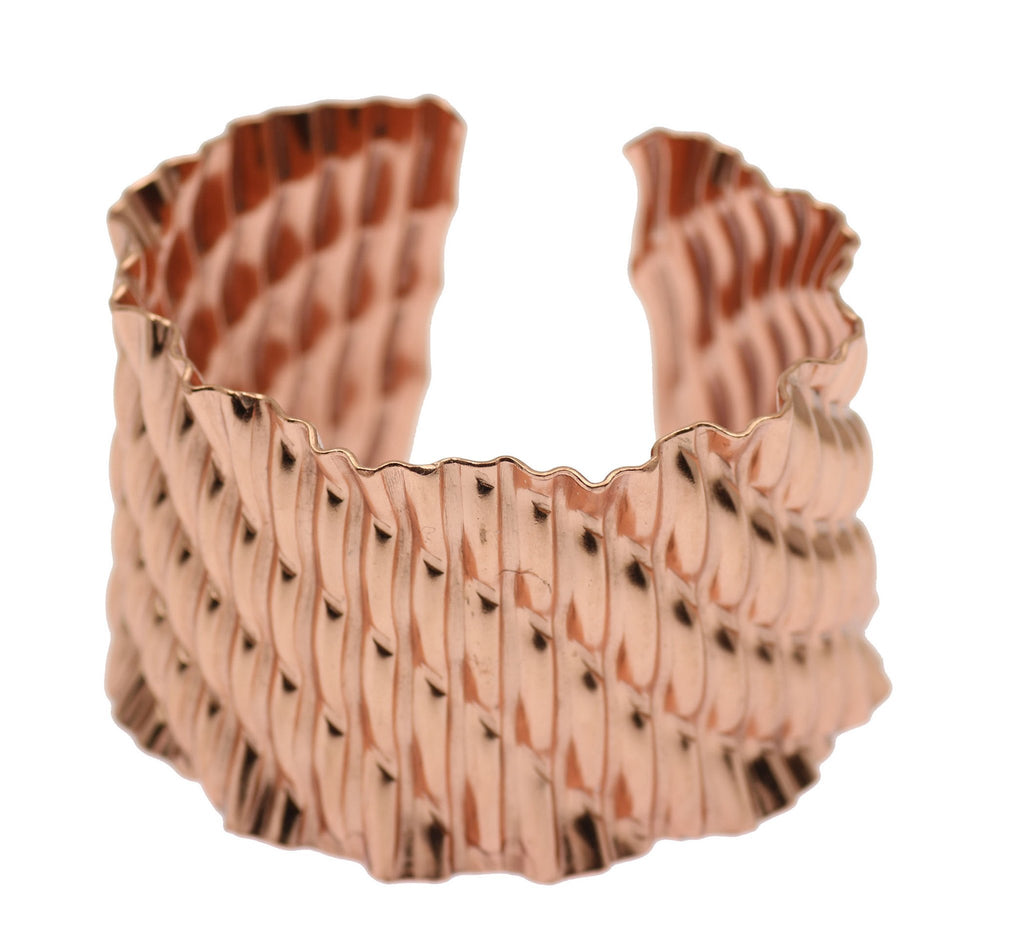 Corrugated Wave Copper Cuff Bracelet - johnsbrana - 2