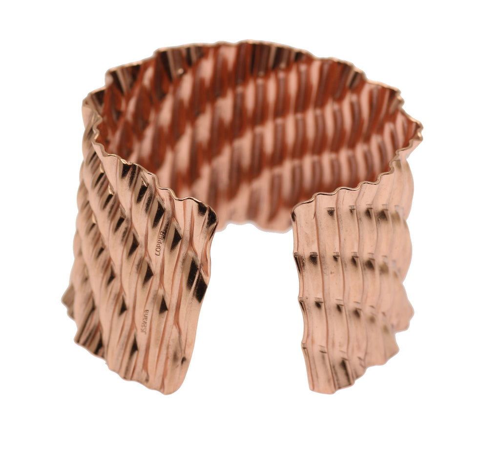 Corrugated Wave Copper Cuff Bracelet - johnsbrana - 3