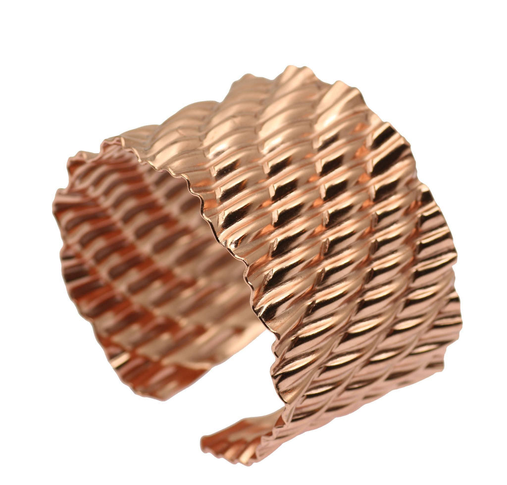 Corrugated Wave Copper Cuff Bracelet - johnsbrana - 4