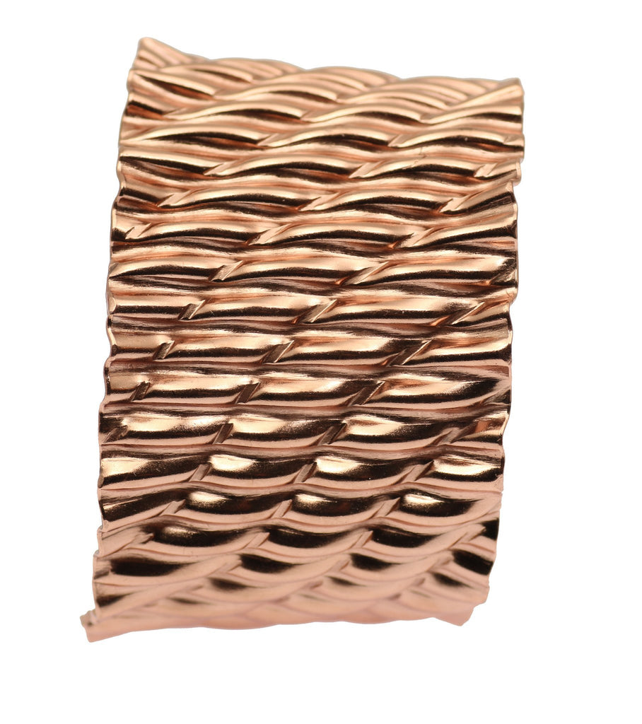 Corrugated Wave Copper Cuff Bracelet - johnsbrana - 5