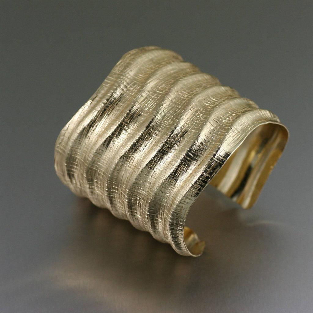 Fluted Nu Gold Brass Linen Cuff Bracelet - johnsbrana - 1