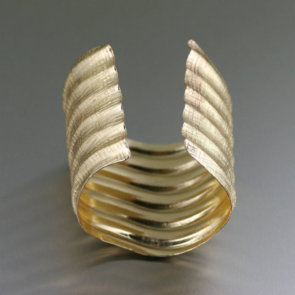 Fluted Nu Gold Brass Linen Cuff Bracelet - johnsbrana - 3