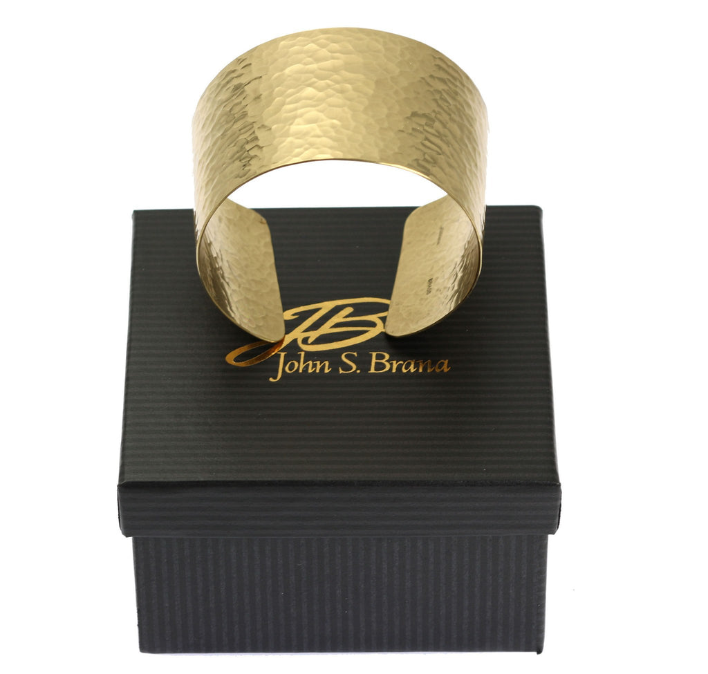 Hammered Nu Gold Brass Cuff - johnsbrana - 7