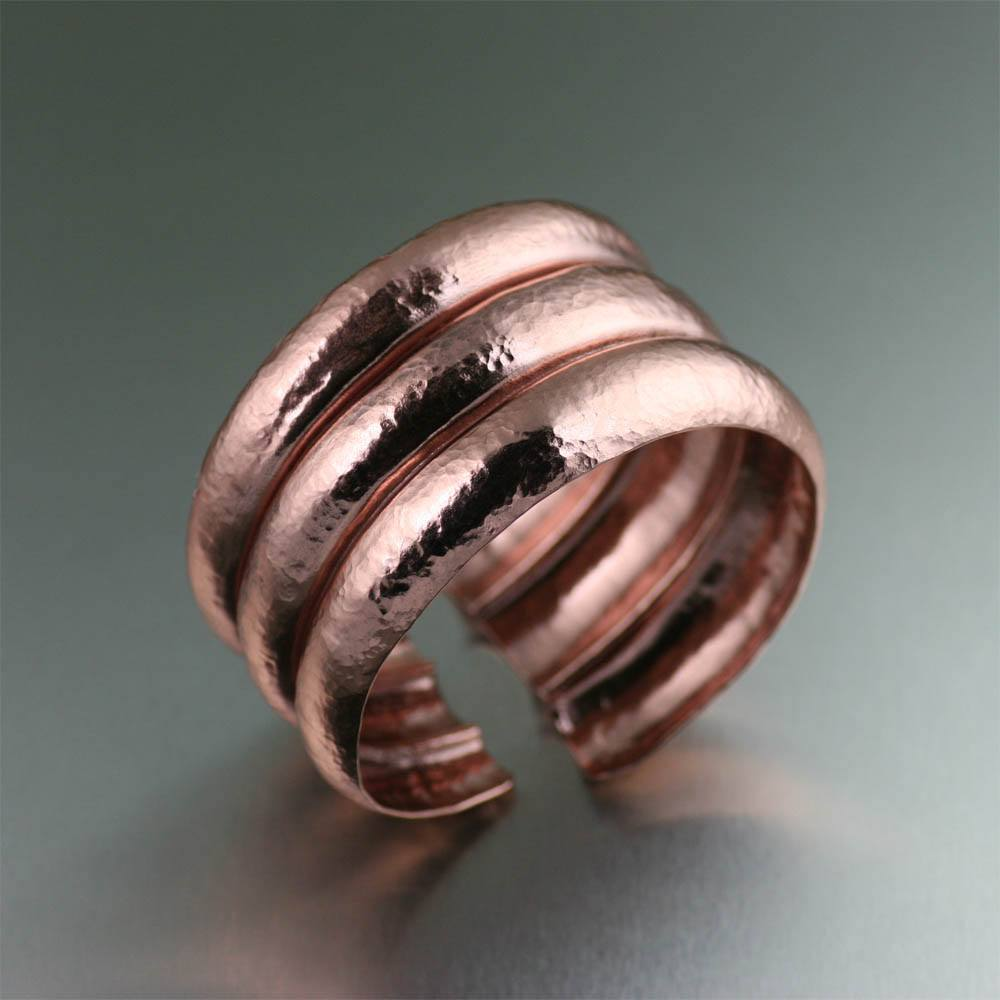 Raised Hammered Copper Cuff Bracelet - johnsbrana - 1
