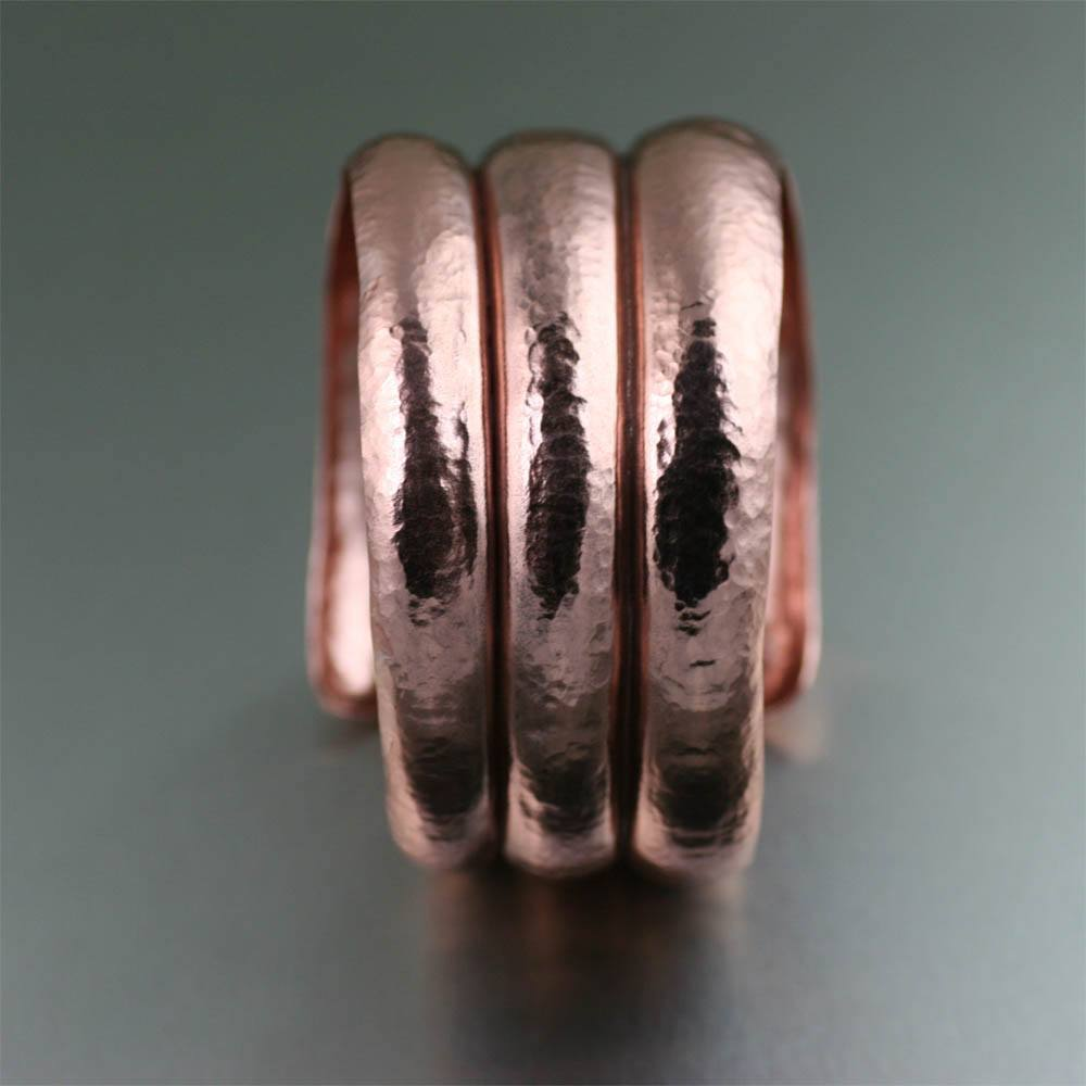 Raised Hammered Copper Cuff Bracelet - johnsbrana - 2