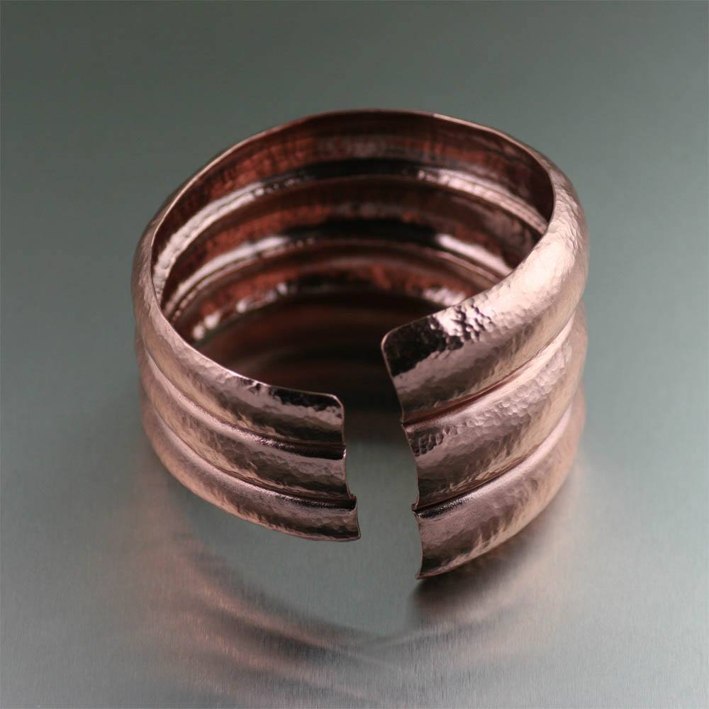 Raised Hammered Copper Cuff Bracelet - johnsbrana - 3