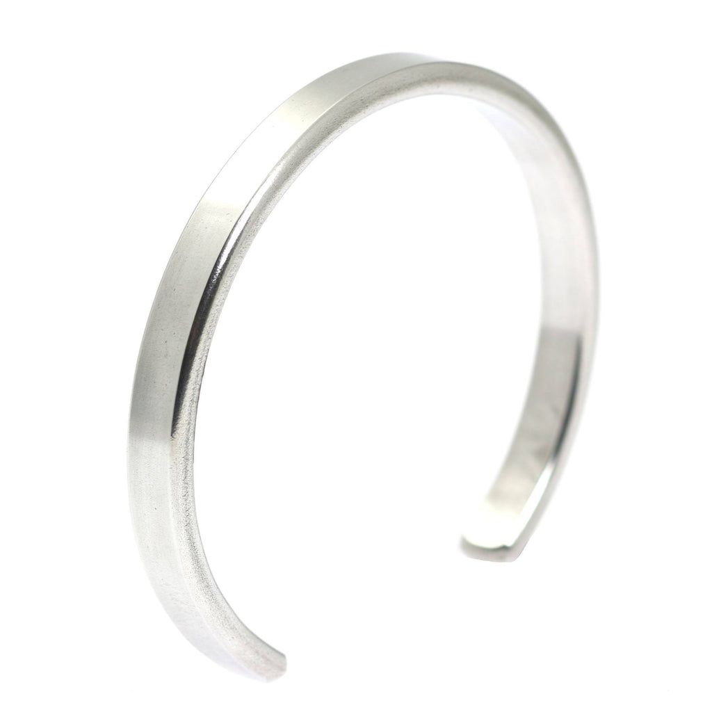 Thin Brushed Aluminum Cuff Bracelet - johnsbrana - 1