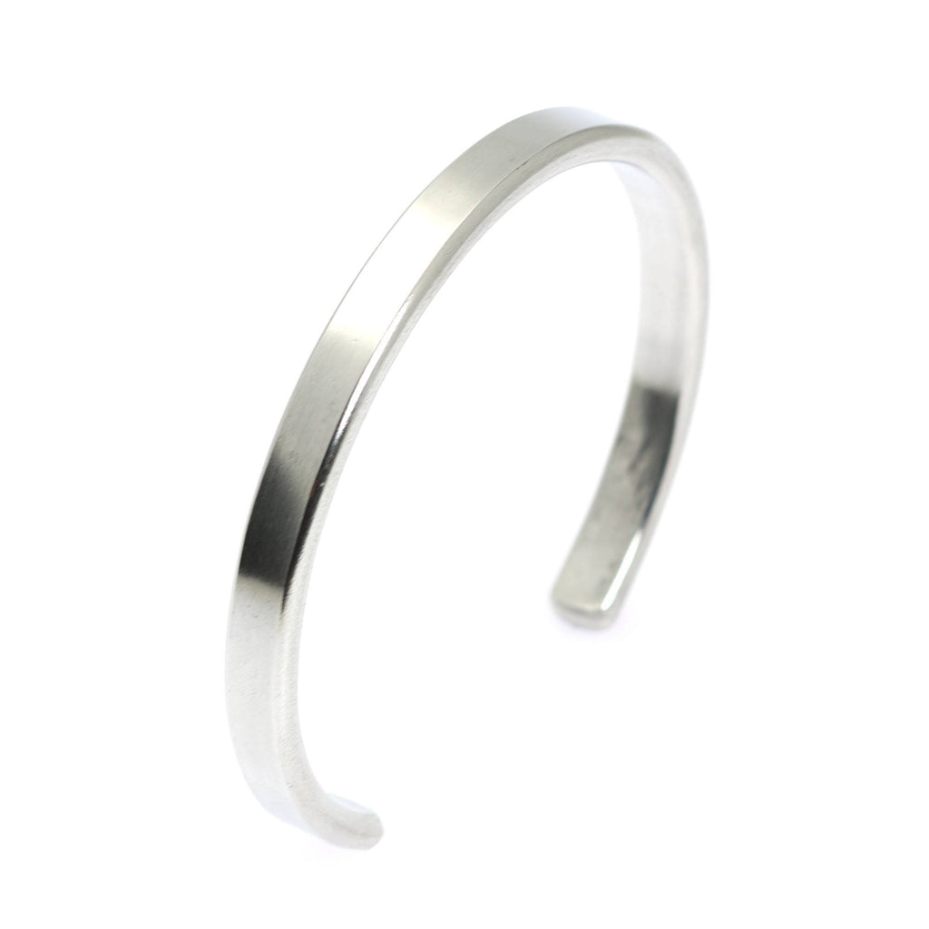 Thin Brushed Aluminum Cuff Bracelet - johnsbrana - 2