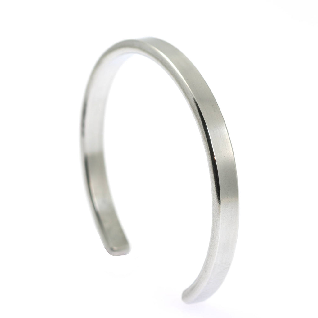 Thin Brushed Aluminum Cuff Bracelet - johnsbrana - 3