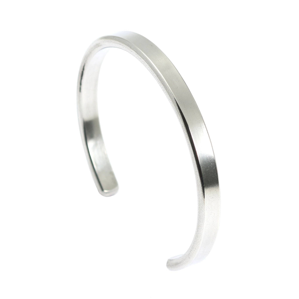 Thin Brushed Aluminum Cuff Bracelet - johnsbrana - 4