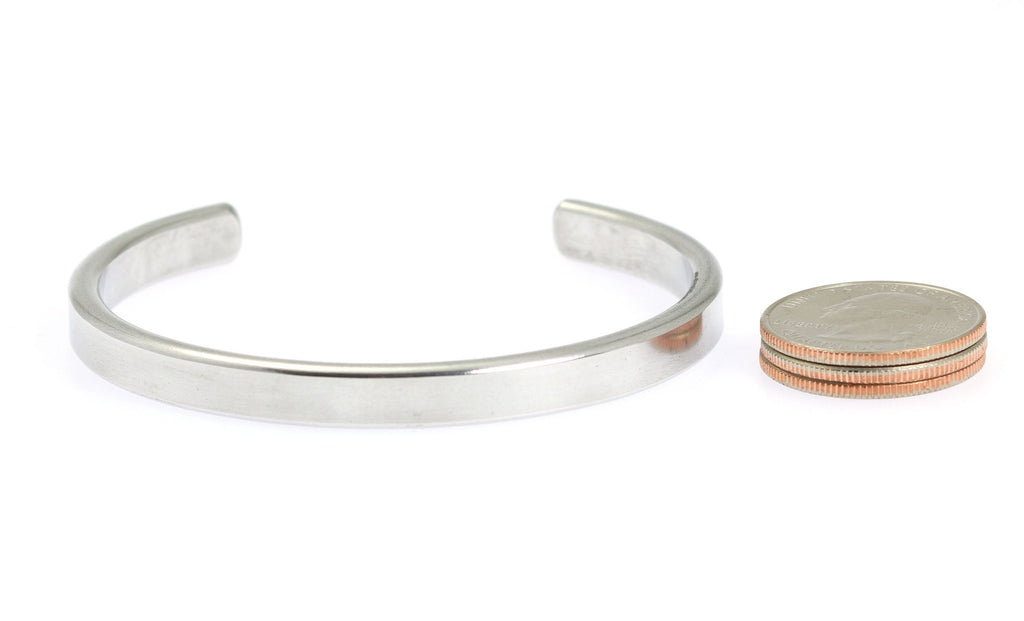 Thin Brushed Aluminum Cuff Bracelet - johnsbrana - 6