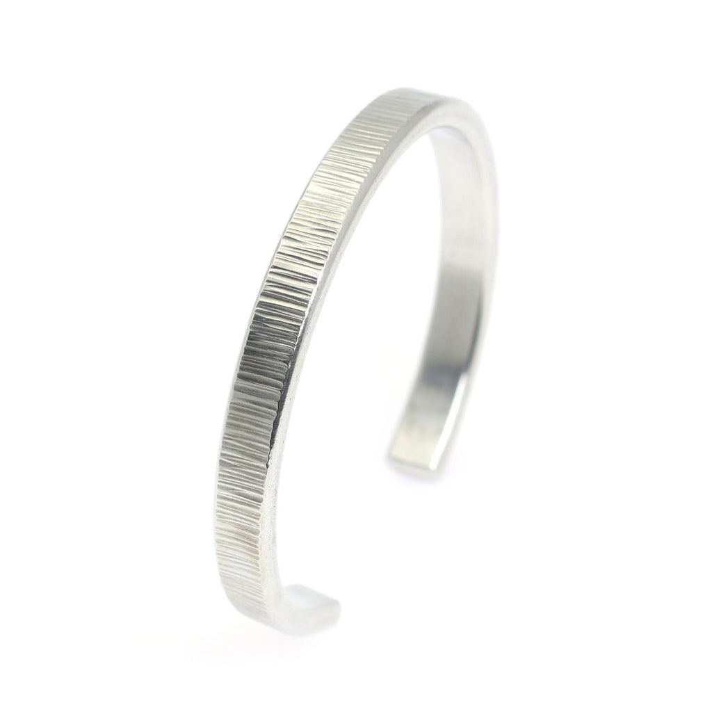Thin Chased Aluminum Cuff Bracelet - johnsbrana - 6