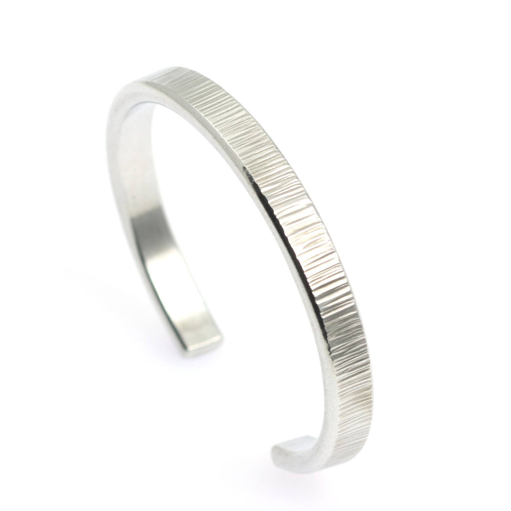 Thin Chased Aluminum Cuff Bracelet - johnsbrana - 7
