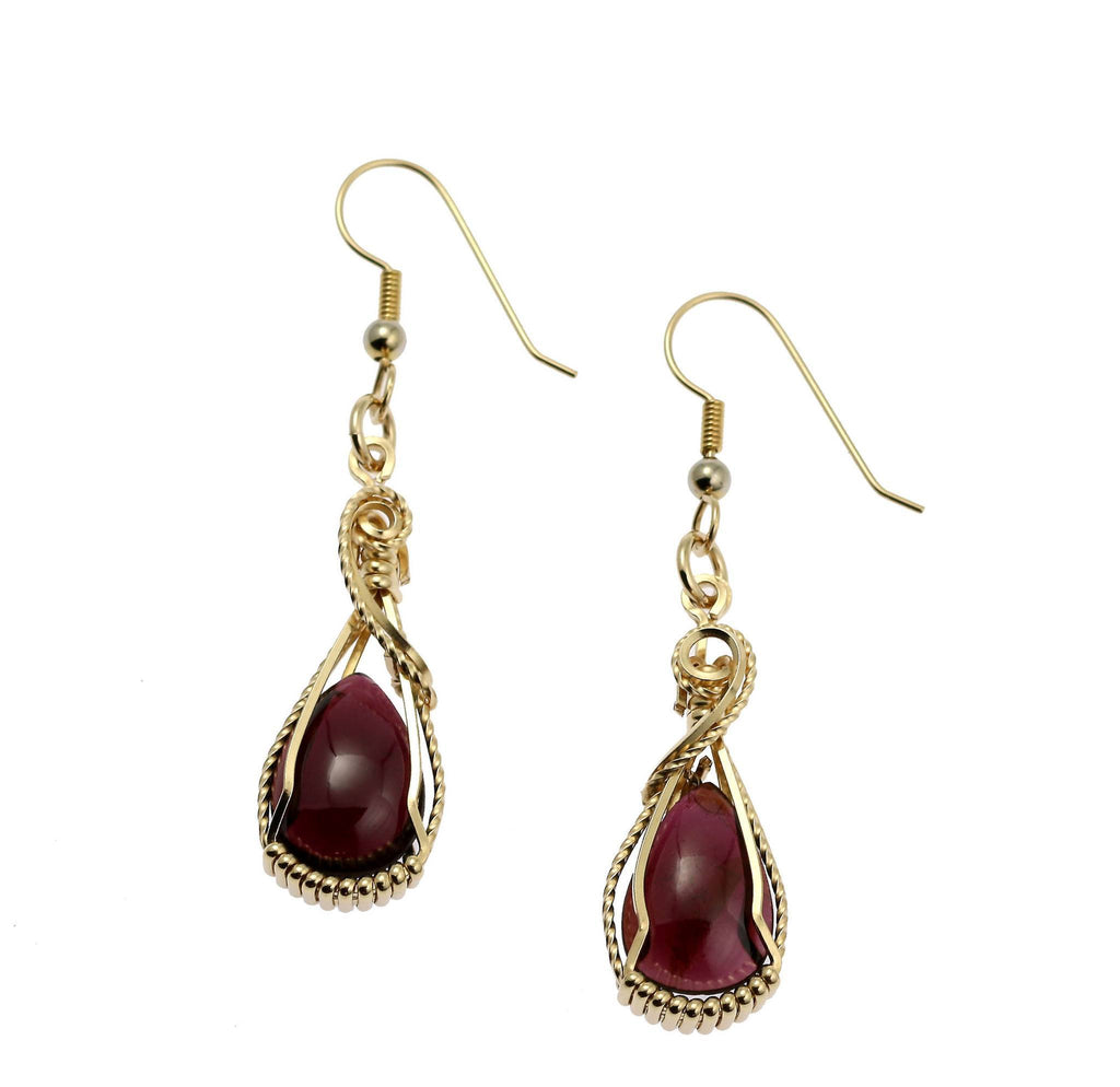 12 CT Cabochon Cut Garnet 14K Gold-filled Earrings - johnsbrana - 1