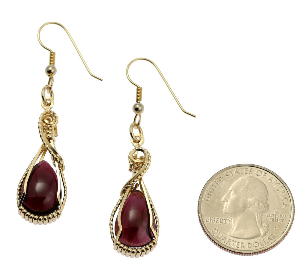 12 CT Cabochon Cut Garnet 14K Gold-filled Earrings - johnsbrana - 2
