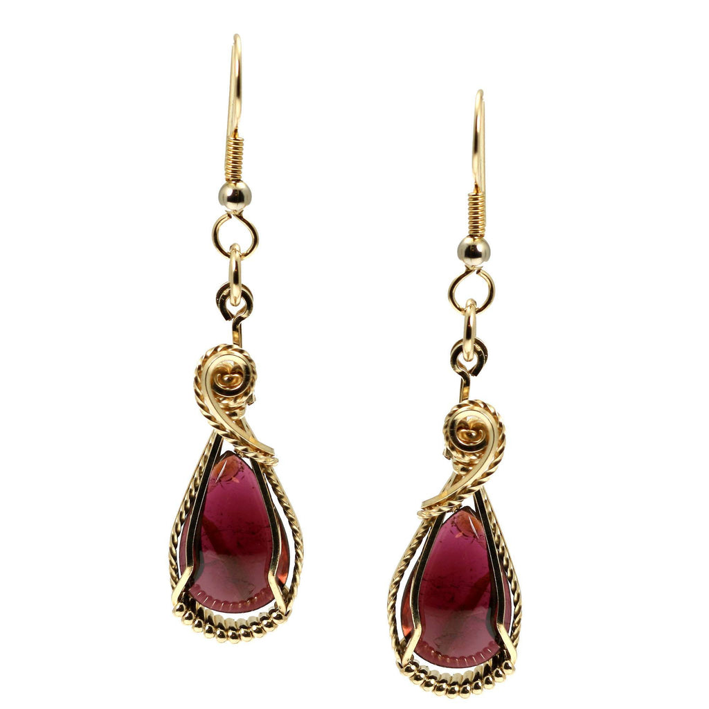12 CT Cabochon Cut Garnet 14K Gold-filled Earrings - johnsbrana - 3