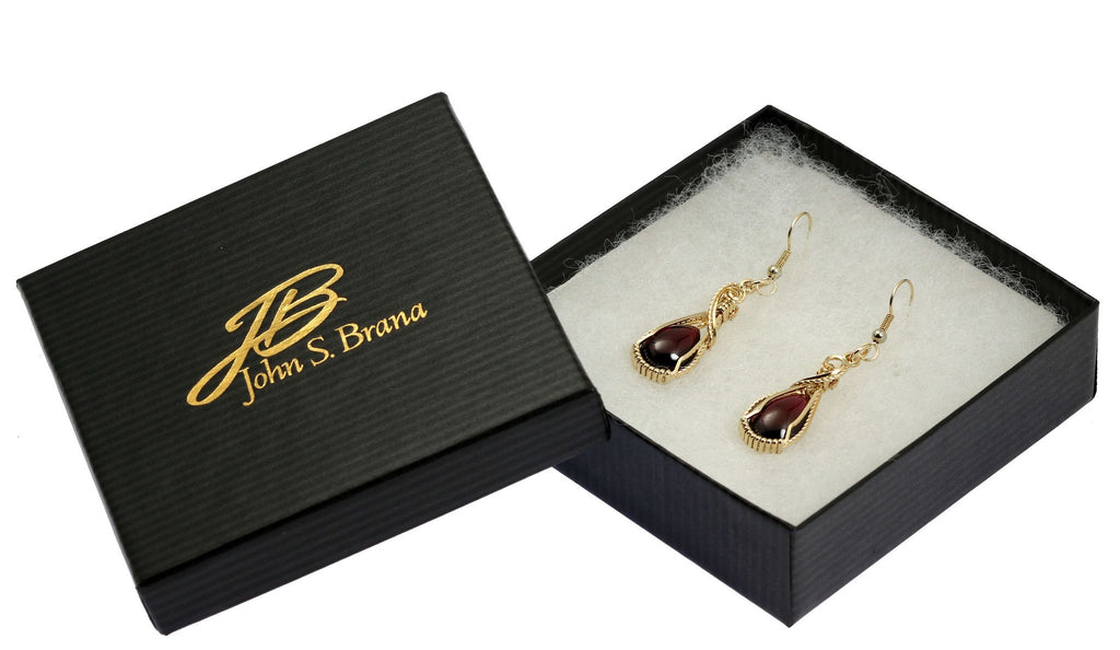 12 CT Cabochon Cut Garnet 14K Gold-filled Earrings - johnsbrana - 4