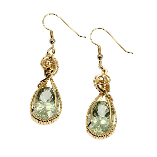 13.5 CT Brilliant Cut Green Amethyst 14K Gold-filled Earrings - johnsbrana - 1