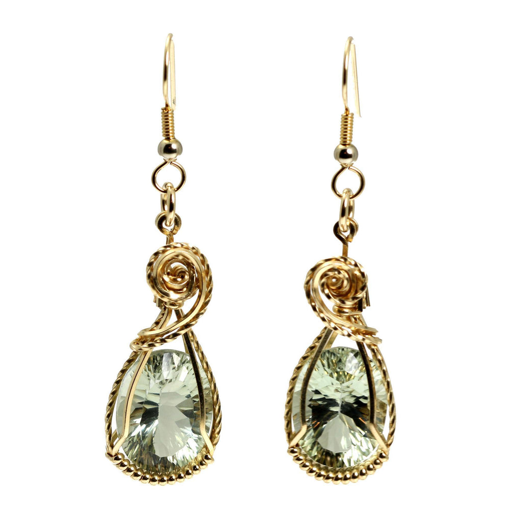 13.5 CT Brilliant Cut Green Amethyst 14K Gold-filled Earrings - johnsbrana - 3