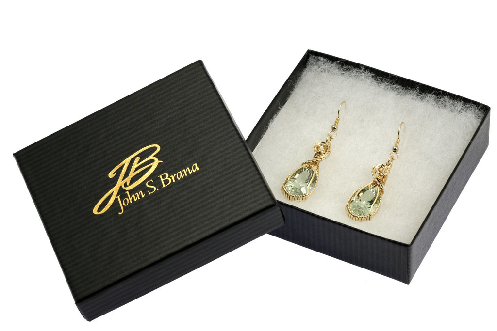 Earrings - 13.5 CT Brilliant Cut Green Amethyst 14K Gold-filled Earrings