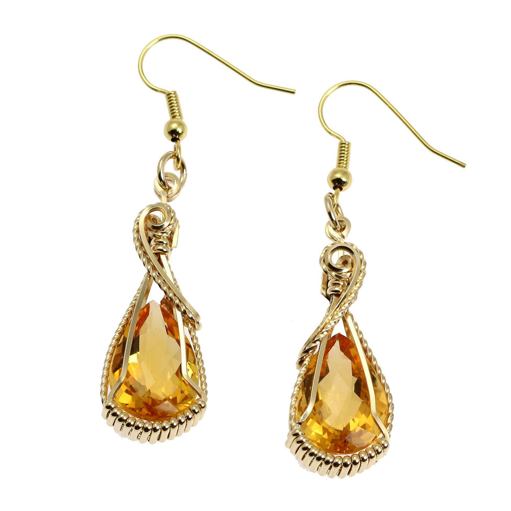 13.5 CT Checkboard Cut Citrine 14K Gold-filled Earrings - johnsbrana - 1