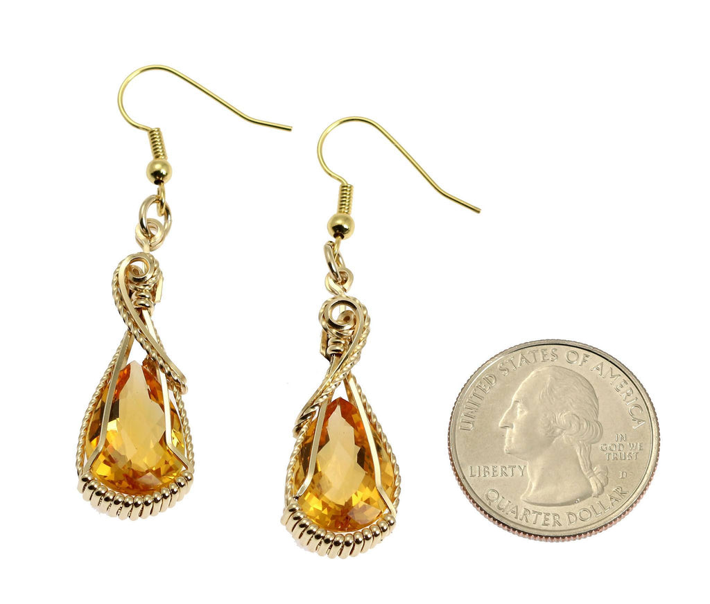 13.5 CT Checkboard Cut Citrine 14K Gold-filled Earrings - johnsbrana - 2