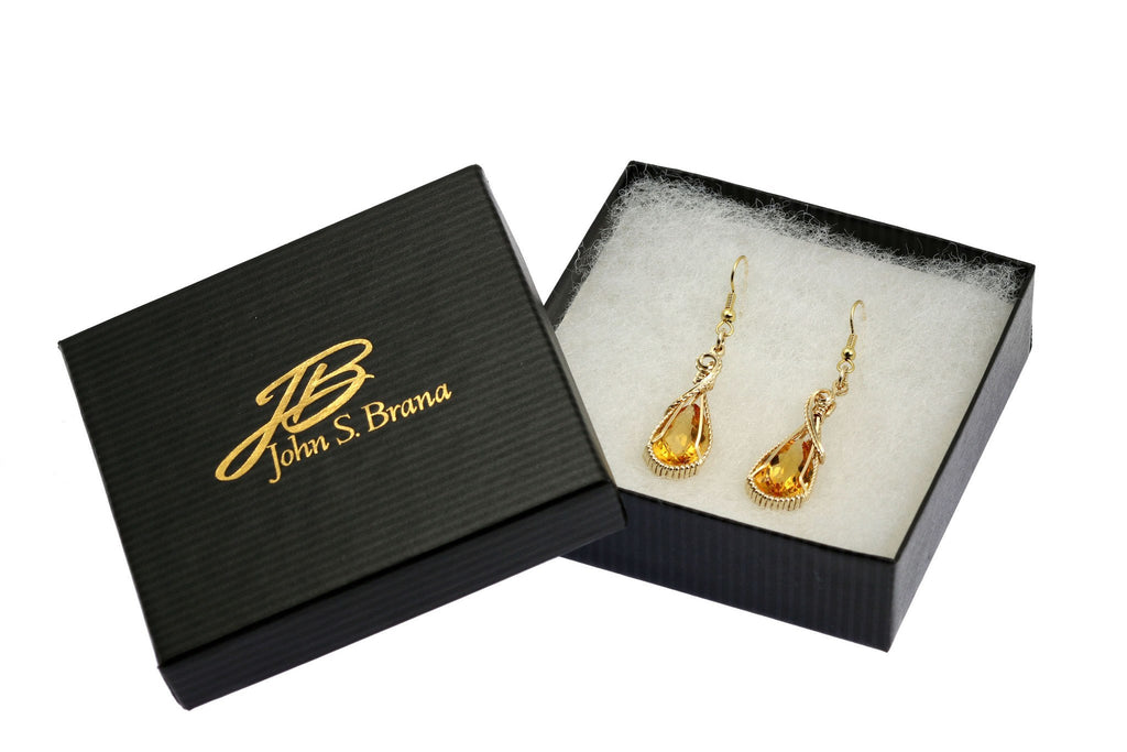 13.5 CT Checkboard Cut Citrine 14K Gold-filled Earrings - johnsbrana - 3