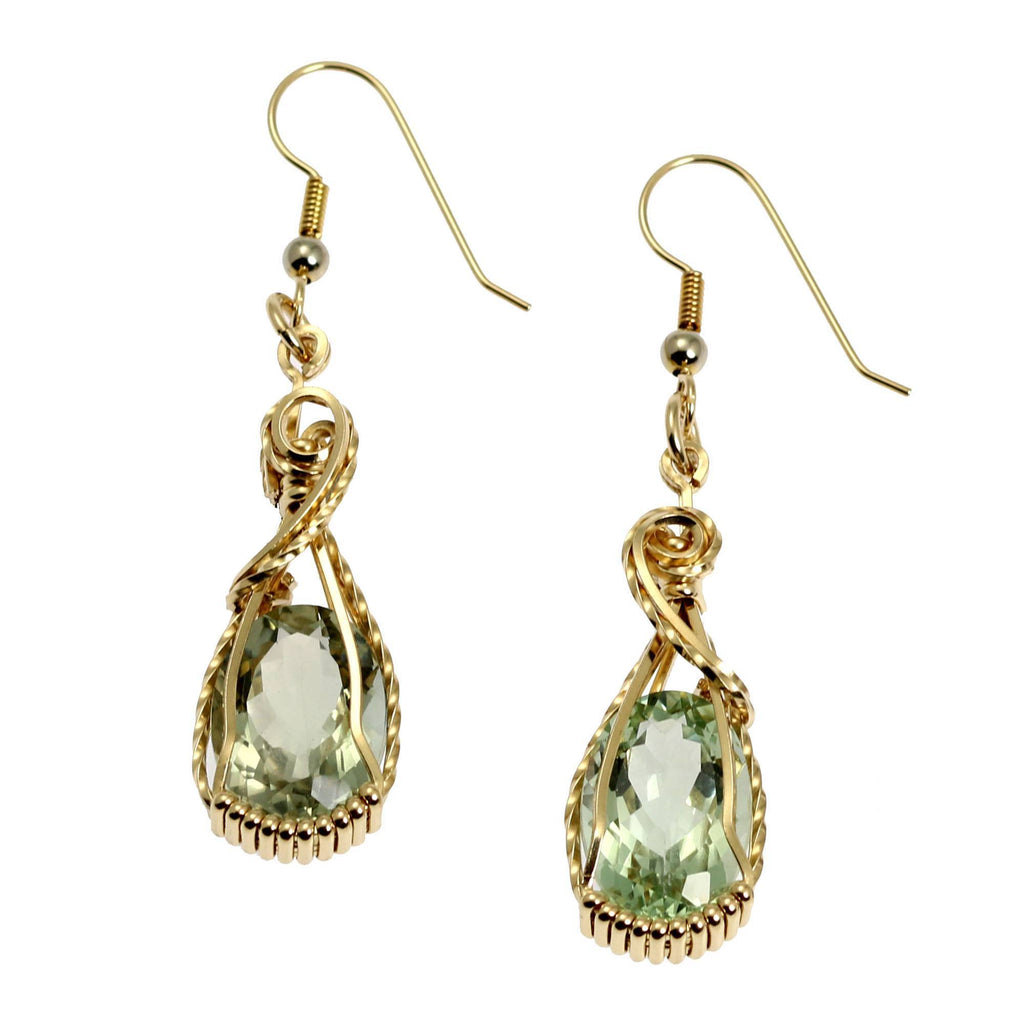 13 CT Brilliant Cut Green Amethyst 14K Gold-filled Earrings - johnsbrana - 1