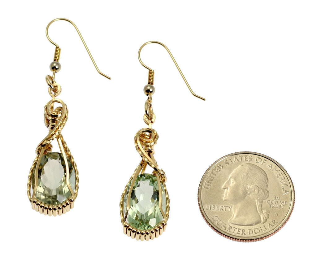 13 CT Brilliant Cut Green Amethyst 14K Gold-filled Earrings - johnsbrana - 2