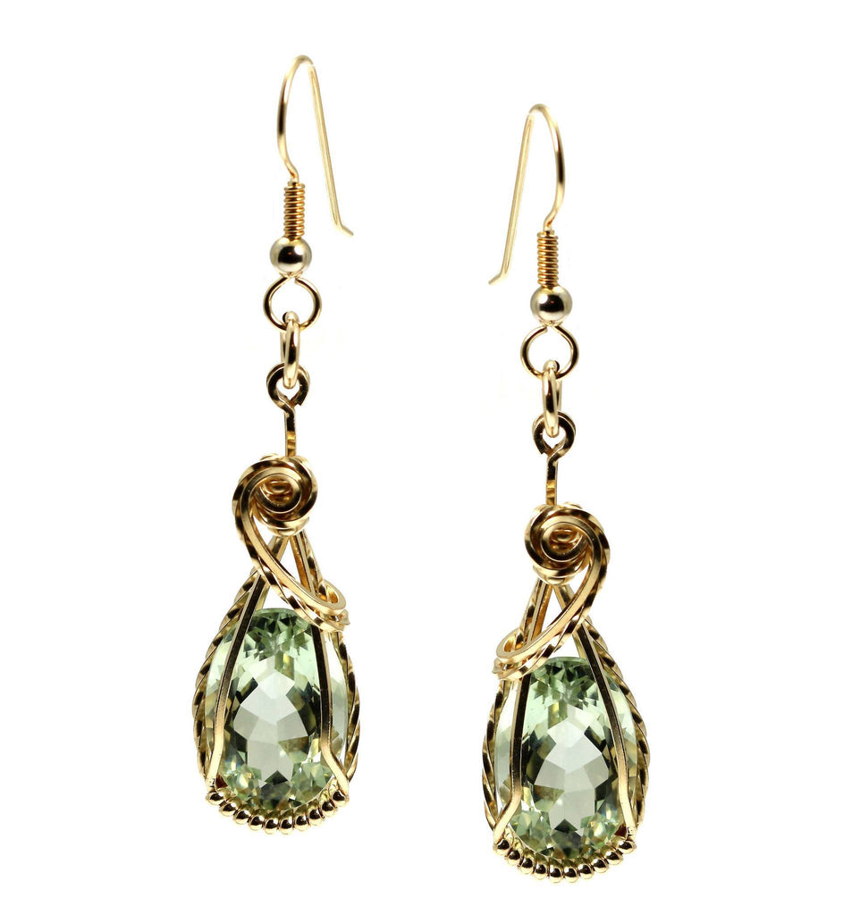 13 CT Brilliant Cut Green Amethyst 14K Gold-filled Earrings - johnsbrana - 3