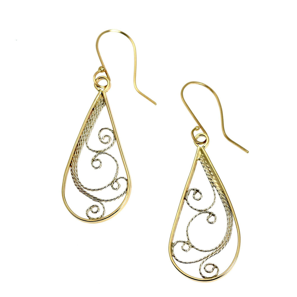 14K Gold Filigree Tear Drop Earrings - johnsbrana - 1