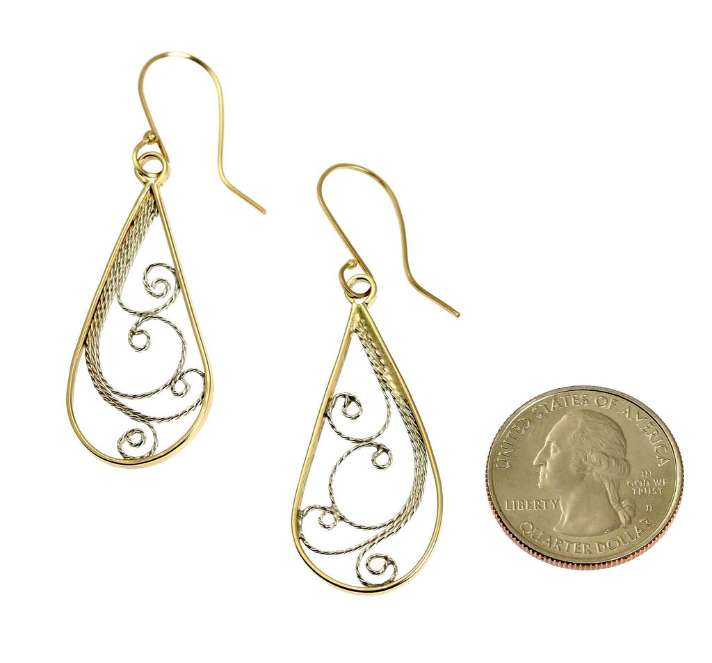 14K Gold Filigree Tear Drop Earrings - johnsbrana - 2