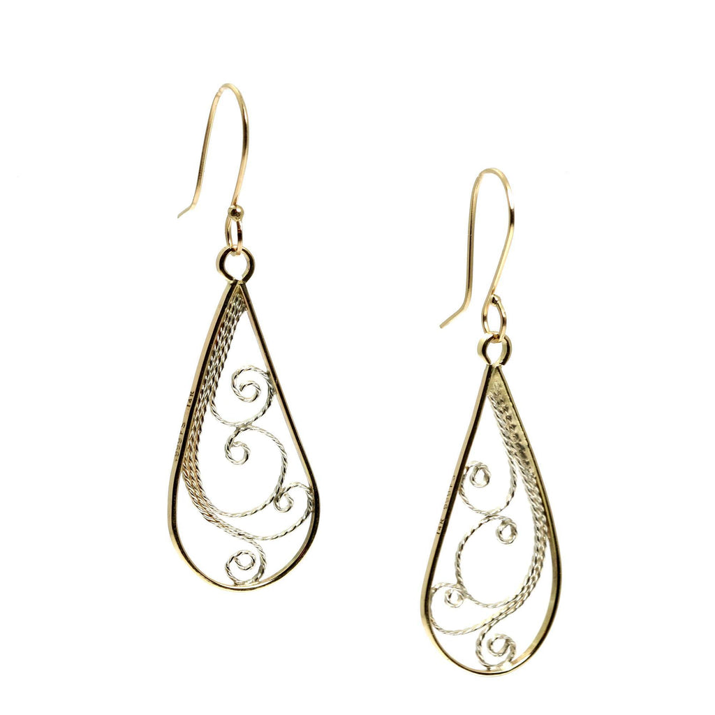 14K Gold Filigree Tear Drop Earrings - johnsbrana - 3