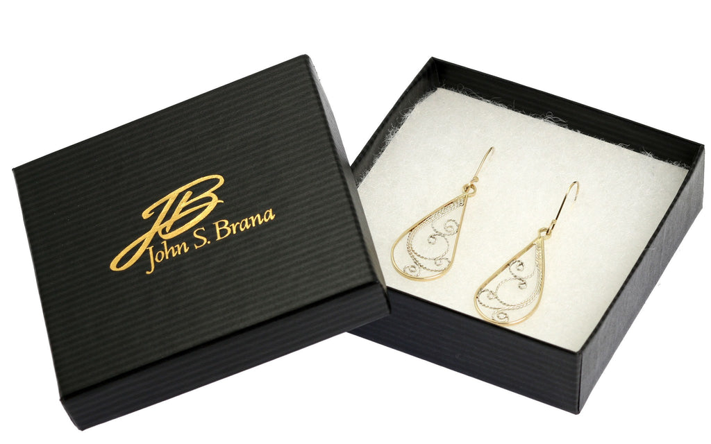 Earrings - 14K Gold Filigree Tear Drop Earrings