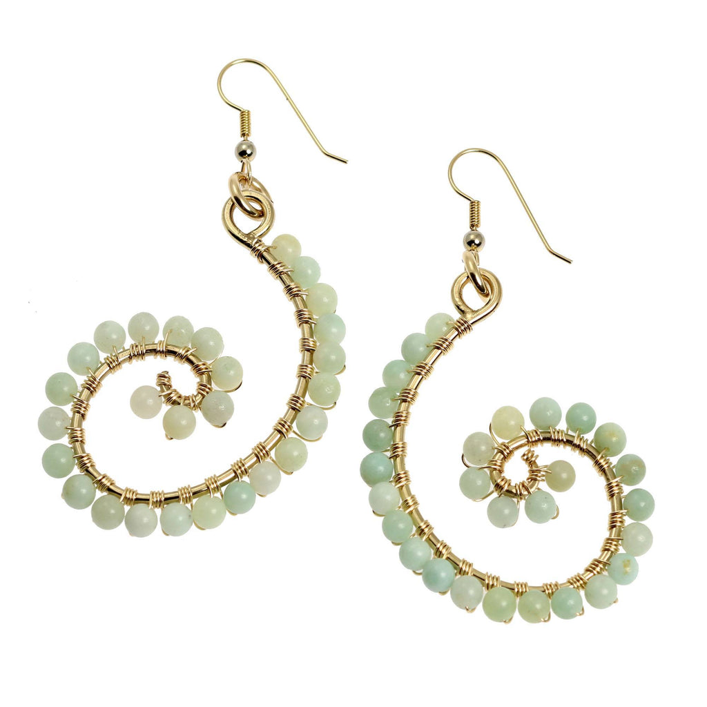 14K Gold-filled Amazonite Scroll Earrings - johnsbrana - 1