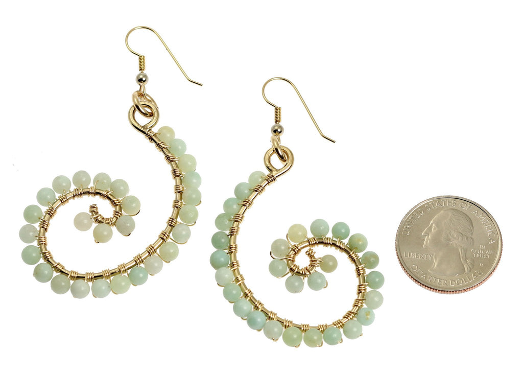 14K Gold-filled Amazonite Scroll Earrings - johnsbrana - 2