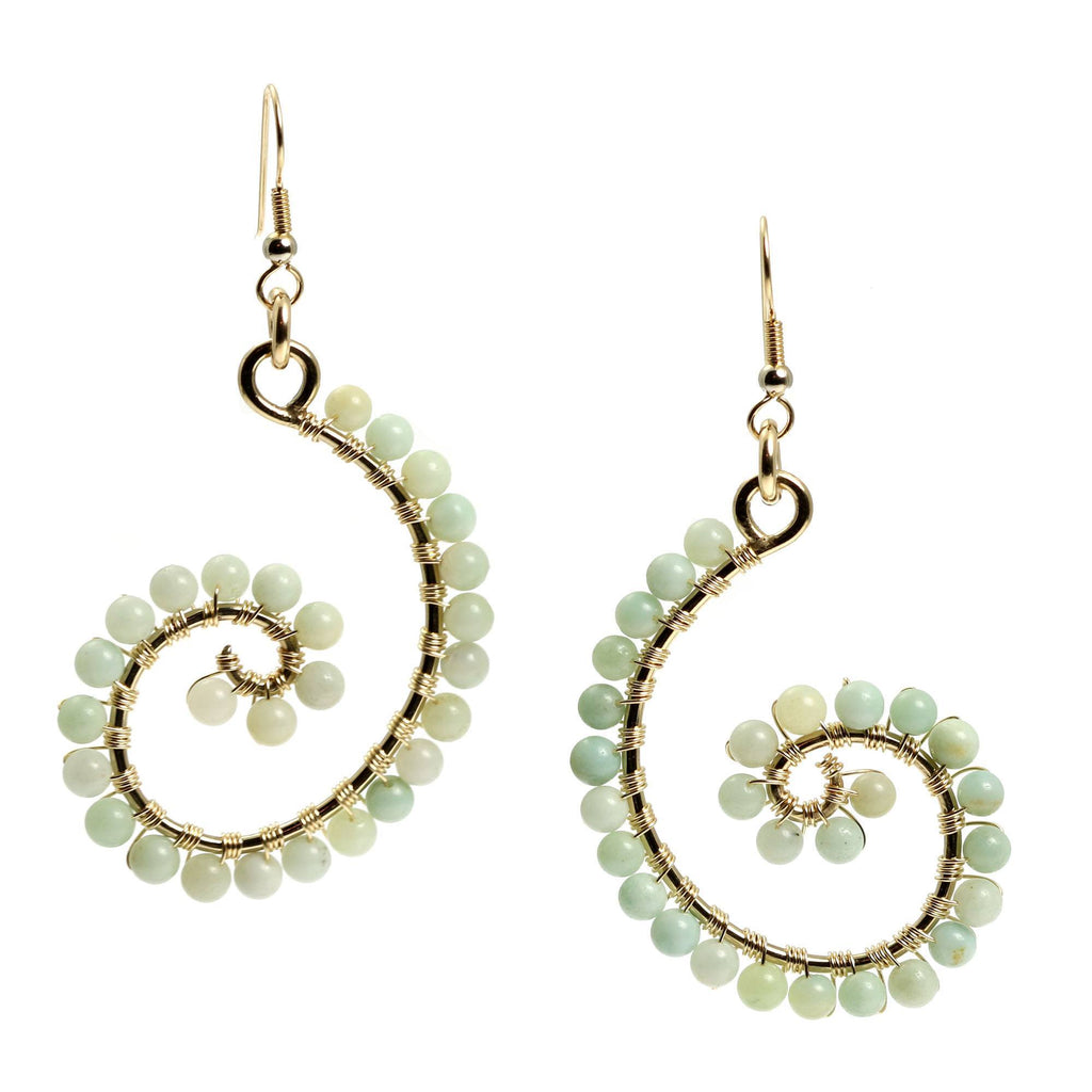 14K Gold-filled Amazonite Scroll Earrings - johnsbrana - 3