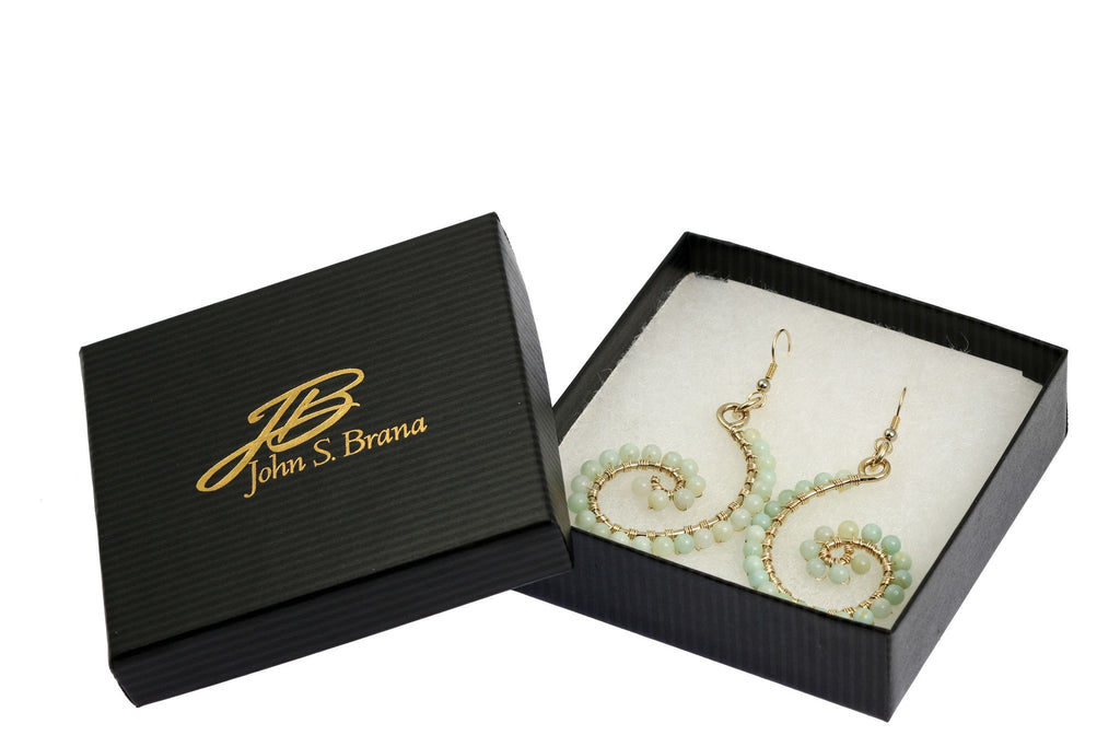 Earrings - 14K Gold-filled Amazonite Scroll Earrings