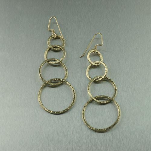 14K Gold-filled Chased Gold Hoop Earrings - johnsbrana